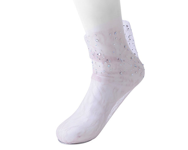 Pink Lace Rhinestone Women's Sock