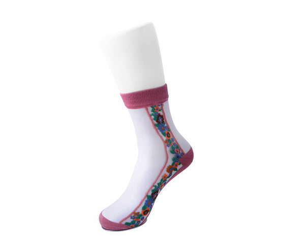 Blush Stripe Floral Sheer Sock