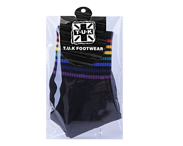 Rainbow Stripe Black Varsity Crew Sock