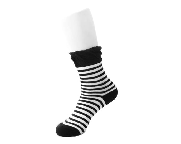 Womens Black White Stripe Sock