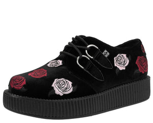 Black Velvet Embroidered Roses Creeper