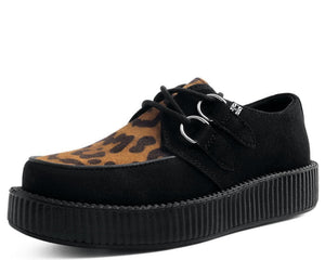 Black Faux Suede & Leopard Creeper