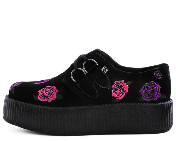 Black Velvet Embroidered Violet Roses Creeper