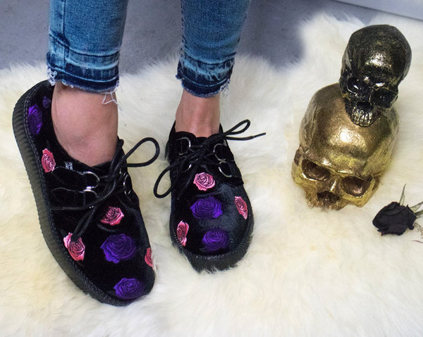 Black Velvet Embroidered Violet Roses Creeper - *FINAL SALE/NON-RETURNABLE