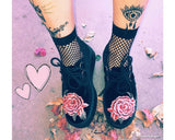 Black Velvet 3D Rose Embroidered Creeper