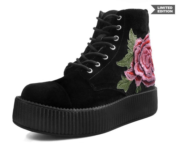 Black Velvet 3D Rose Embroidered Boots