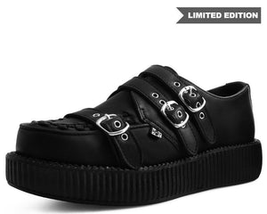 Black Leather 3-Strap Buckle Creeper