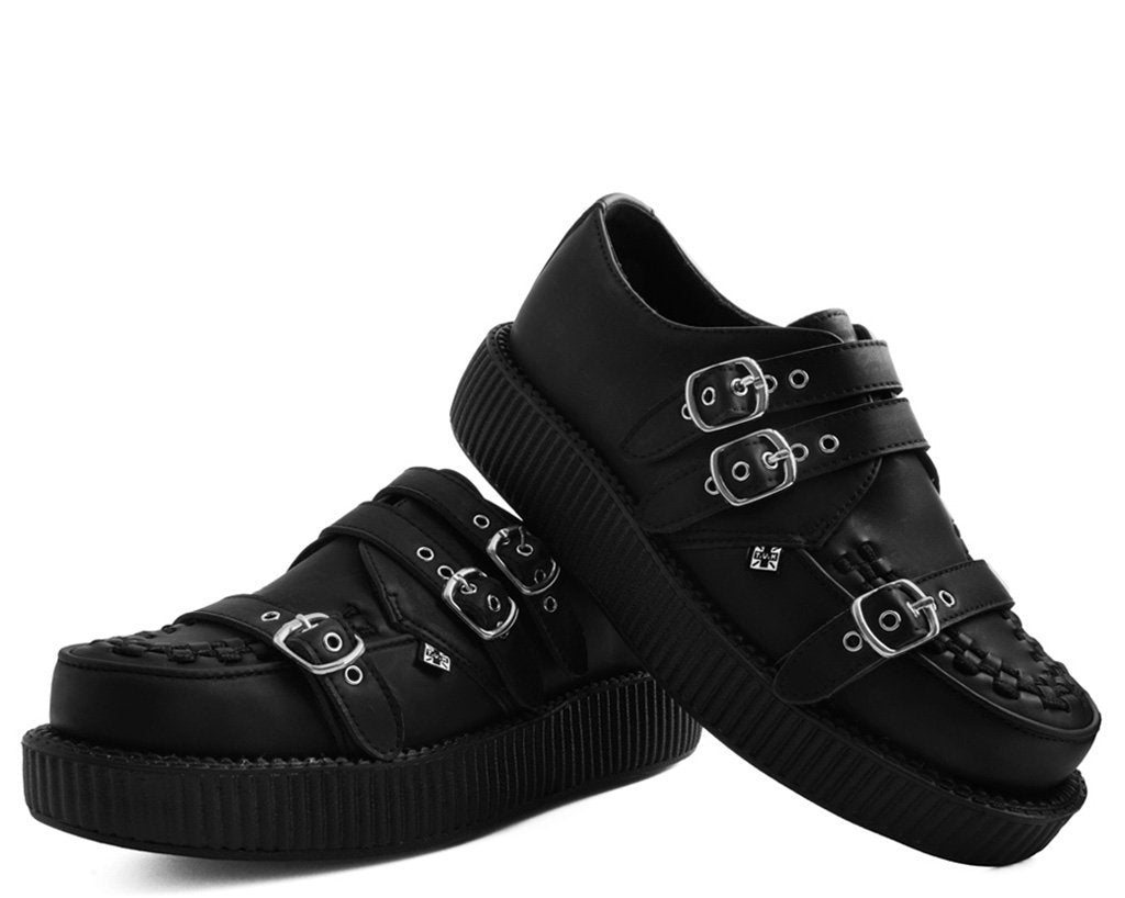 f0e89e1b045b93 Black Leather 3-Strap Buckle Viva Low Sole Creepers – T.U.K. Footwear Outlet