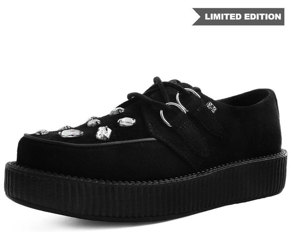 Black Faux Suede Gem Creeper