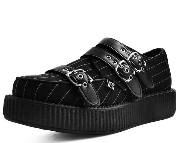 Black & White Pinstripe Buckle Triple Strap Viva Low Creeper