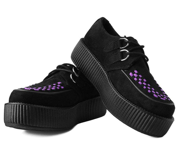 Black Faux Suede Purple Interlace Viva Mondo Creeper
