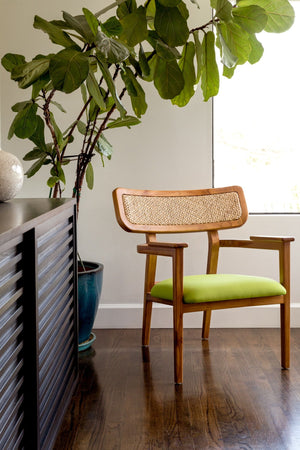 Mid-Century Modern Dining Chair Made from Solid Teak and Woven Rattan. Lime Green-Colored Seat.