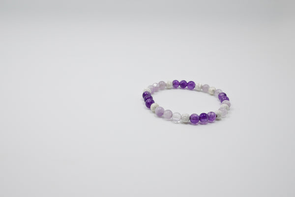 Women's Amethyst, Moonstone, and Silver Beads Bracelet