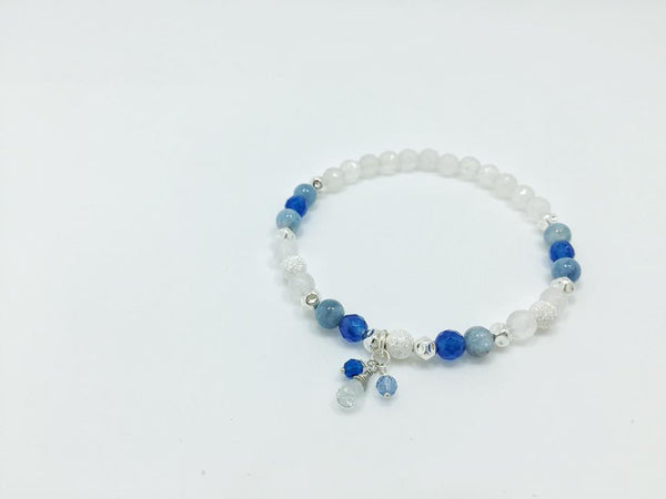 Women's Aquamarine, Blue and White Agate, and Silver Beads Bracelet