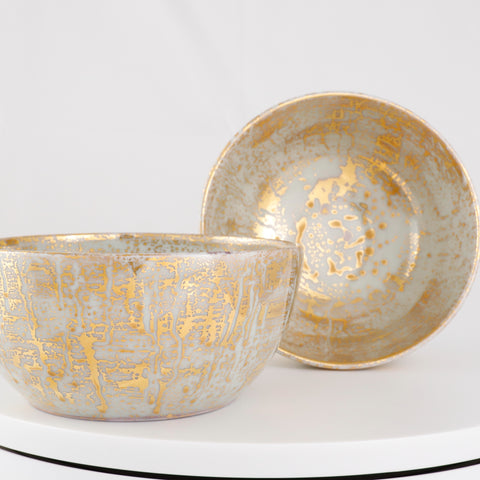 Gold Drizzle Glazed Accent Bowls