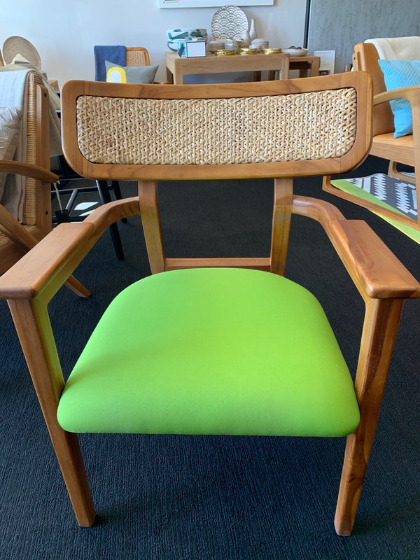 Gedhe Teak and Cane Lounge Chair