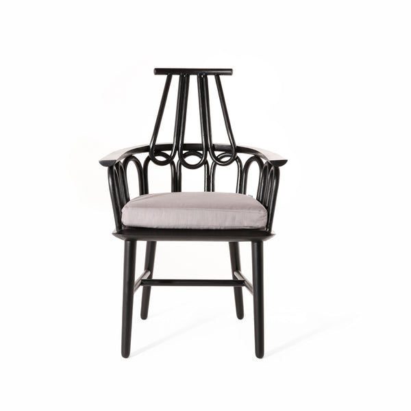 Regal Dining Chair. Made from mahogany and rattan. Grey seat cushion.