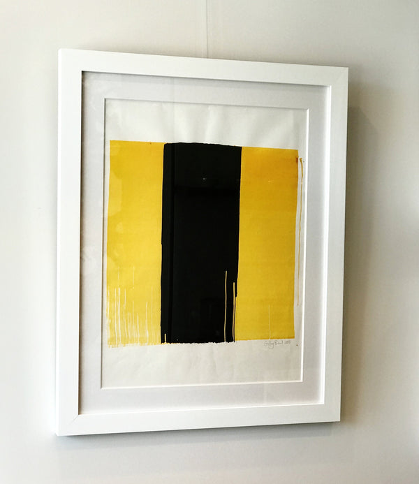 Black and yellow contemporary painting framed. Matte Acrylic on canvas.