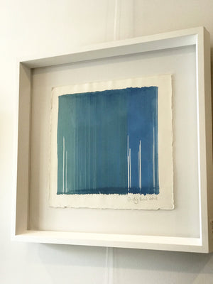 Original artwork. Contemporary framed art painting. Blue on Blue. Matte Acrylic