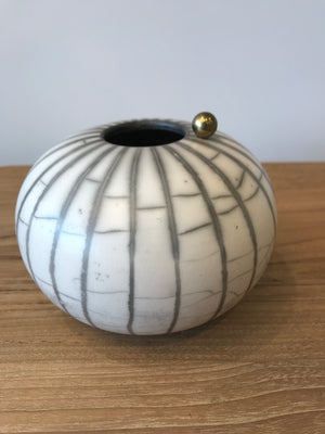 Black Line Naked Raku White Craquele with Harmony Ball