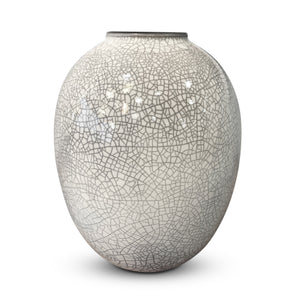 Shiny White Craquele Vase - Large