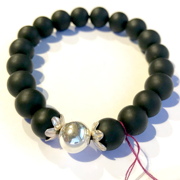 Unisex Matte Agate and Silver Bead and Cap Bracelet