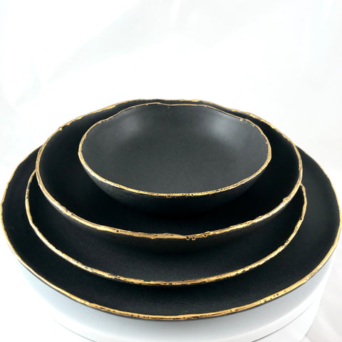 Porcelain Matte Black with Gold Aquoso Rim
