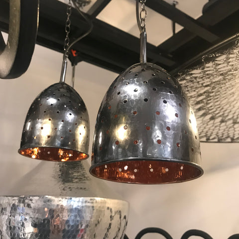 Scoopy Light Fixture, copper with chain holes