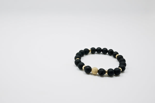 Men's Lava Stone, Matte Agate, and 14K Gold Bead Bracelet