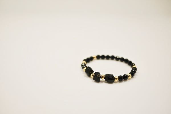 Women's Lava Stone, Onyx, and Gold Beads Bracelet