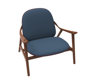 Retro 1960s-style dining chair in wood with grey cushion.
