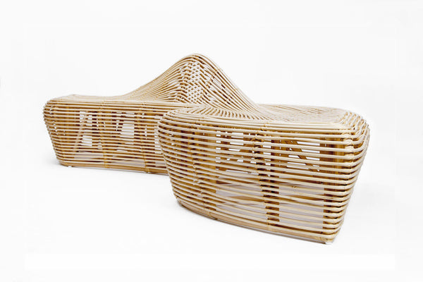 Outdoor Bench Made from Natural Rattan. Unique design.