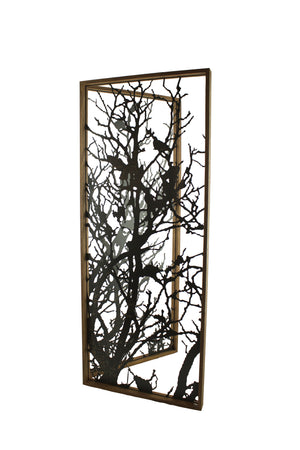Laser Cut Metal and Teak Chinoiserie Room Divider