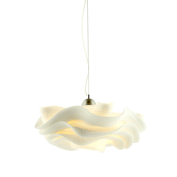 Ceiling light made from zipper material. Cream colored. 60 watt. Award-winning.