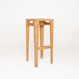 Natural Teak Wood High Stool. For Kitchen or Office.