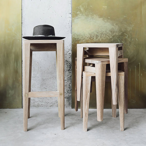 Lula Solid Teak High Stool