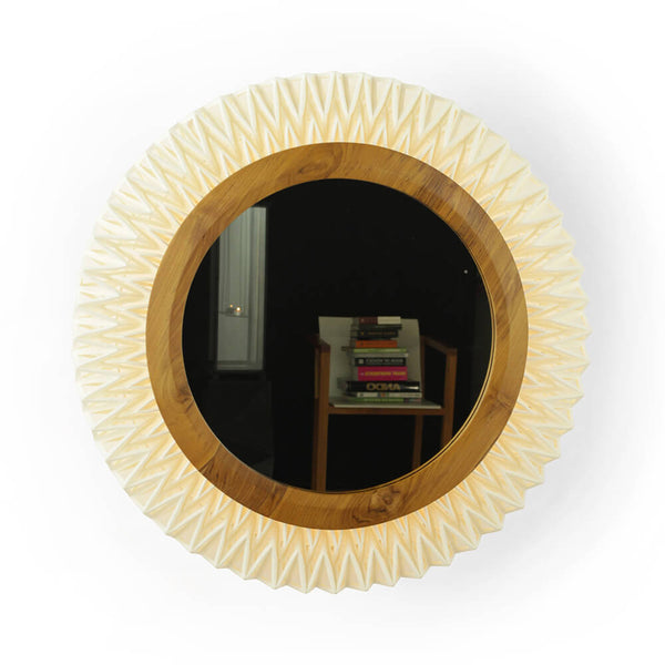 Matahari Teak and Linen Mirror Wall Lamp