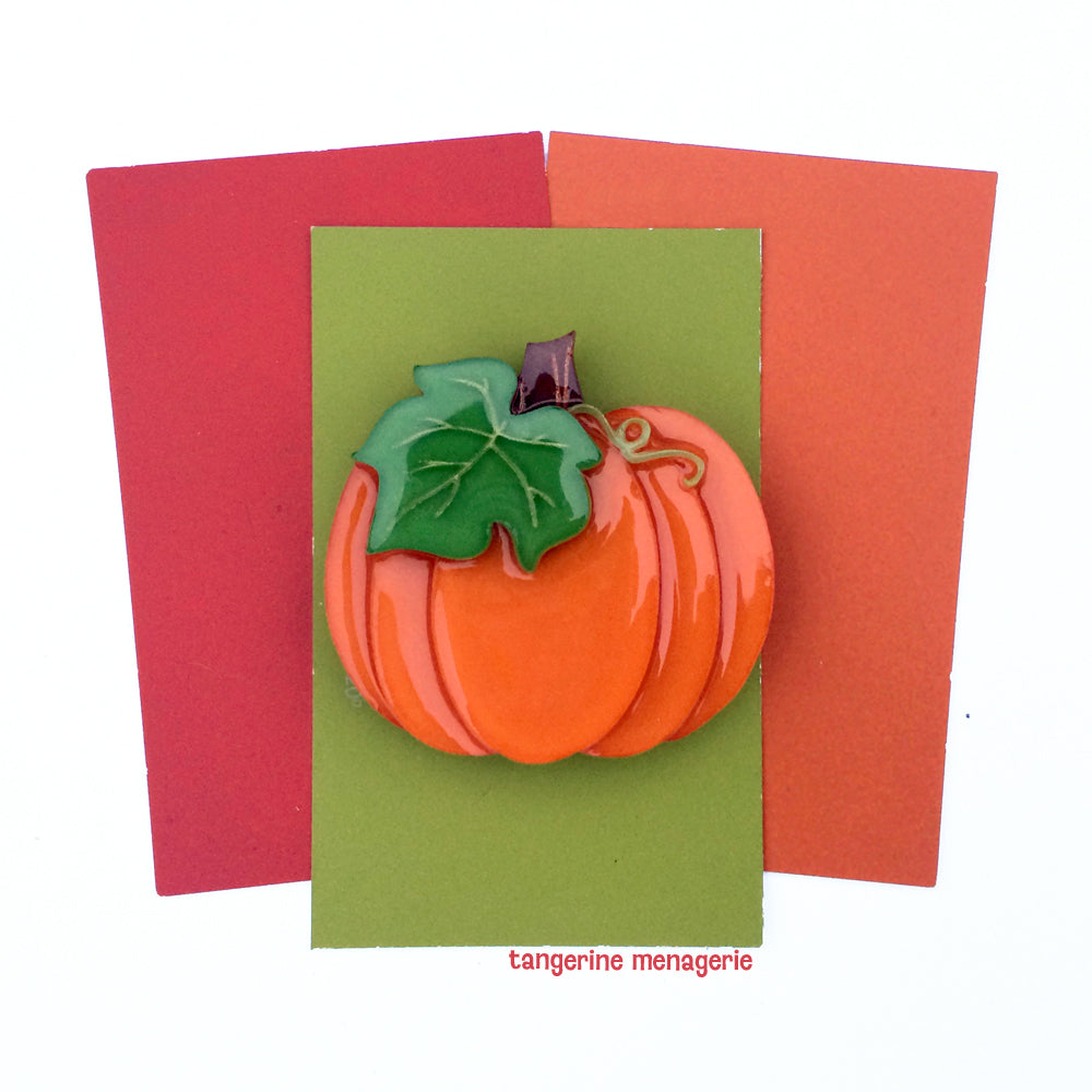 Autumn Harvest Pumpkin Brooch