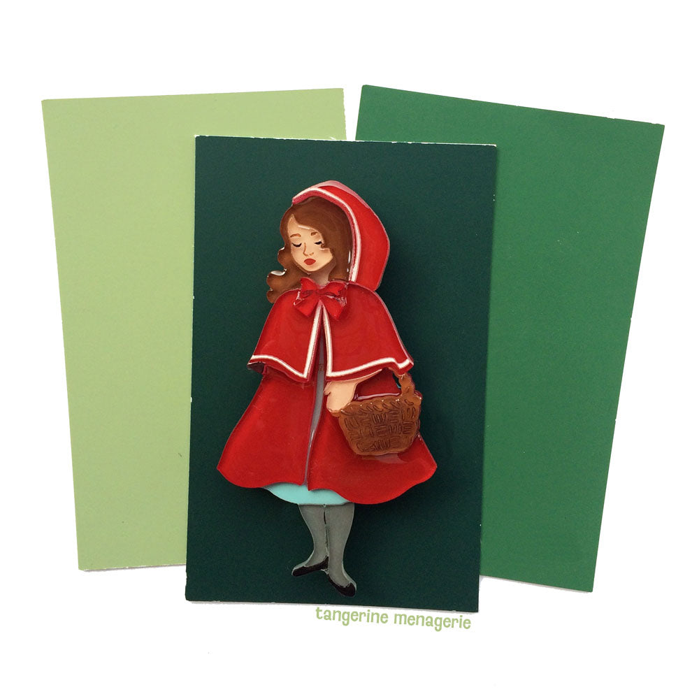 Red Riding Hood Brooch - Peach Skin and Chestnut Hair