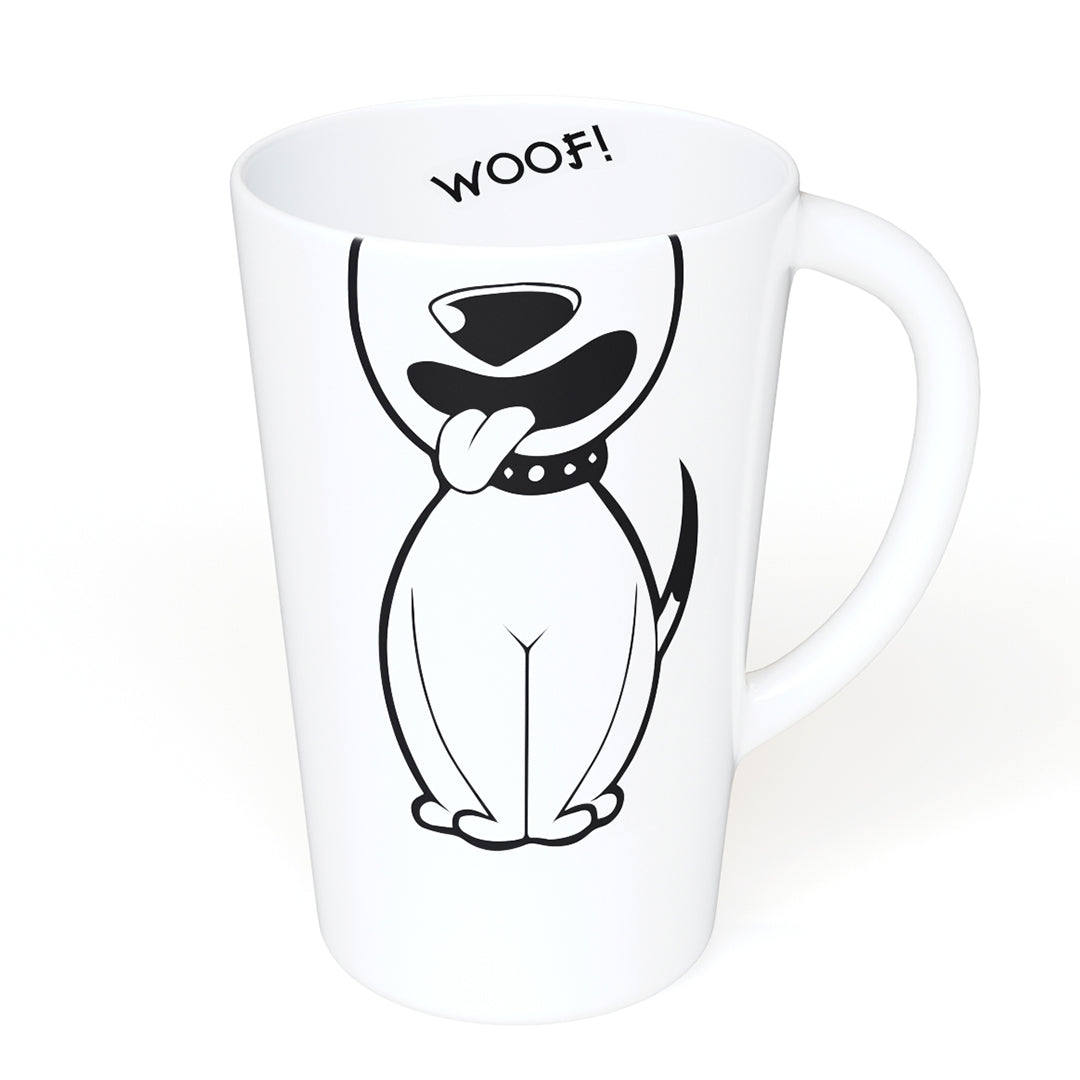 Woof! 16oz Ceramic Mug with Handle for Dog Lovers - A Gift Mug For Those Who Love Dogs