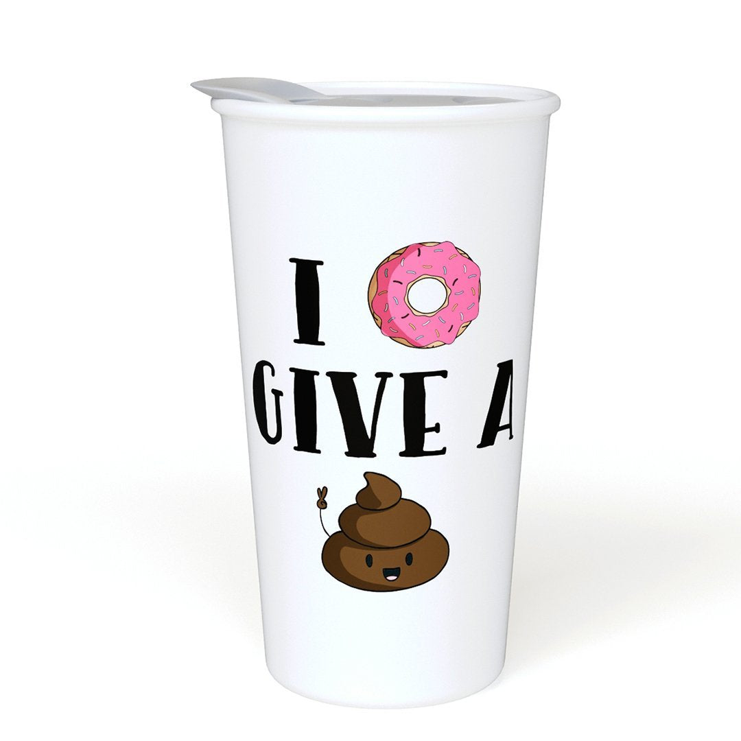 I Donut Give a Sht Funny Ceramic Coffee Travel Mug 12 oz. With Sealed BPA Free Lid, Poop Emoji - Dishwasher and Microwave Safe - Funny Novelty Travel Mug - Double Sided Printed Funny Saying