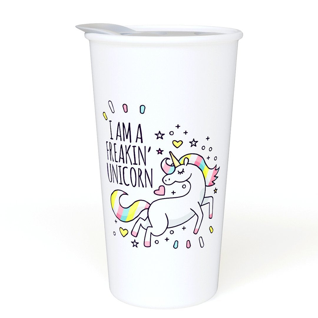 I Am a Freakin' Unicorn Ceramic Coffee Travel Mug 12 oz. - Sealed BPA Free Lid - Dishwasher & Microwave Safe – Double Wall Ceramic – Novelty Coffee Mug – Ideal Gift for Unicorn Lovers
