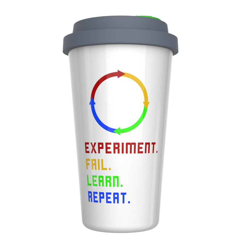 Experiment. Fail. Learn. Repeat Motivational Ceramic Coffee Travel Mug 12 oz. With Sealed BPA Free Lid, Dishwasher and Microwave Safe - Motivational Quote Coffee Mug - Ideal Gift for your Co-worker
