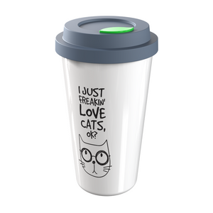 I Just Freakin' Love Cats, Ok? - 12 oz Ceramic Double Wall Travel Mug - Home, Office, Car, Transit - A Gift for Cat Lovers