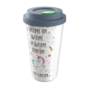 Unicorns Are Awesome - I Am Awesome - Therefore I Am A Unicorn - 12oz Ceramic Travel Mug for Home, Office, Car, Transit - A Gift For Unicorn People