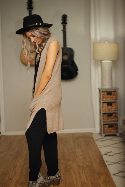 Out on the town cardi vest in mocha
