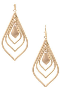 Layered teardrop earrings in gold