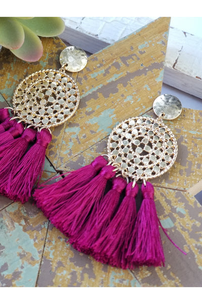 Hammered metal tassel earrings in wine