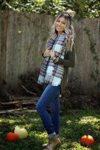 Plaid blanket scarf in mint