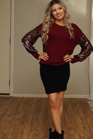 Sparkle & shine sequin sleeve top